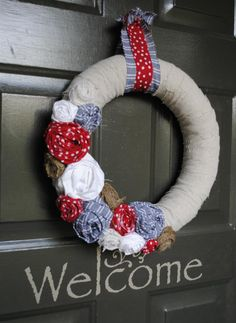 Memorial Day and July 4th Wreath that I made from a combo of ideas on pinterest