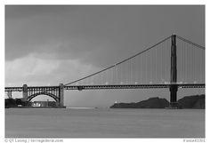 Storm over the Golden Gate Bridge. San Francisco, California, USA (black and white)