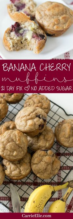 sugar added banana cherry muffins, perfect for the 21 Day Fix (with container counts! 21 Day Fix Desserts, 21 Day Fix Snacks, Diabetic Desserts, Healthier Desserts, Sweet Desserts, Diabetic Recipes, 21 Day Fix Breakfast, Breakfast Recipes, Breakfast Muffins