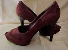 NINE WEST BURGUNDY SUEDE PEEP TOE PUMPS - 100% Leather Upper - BONFIRED Size 7M #NineWest #OpenToePumps #WeartoWorkClubbing $25.99