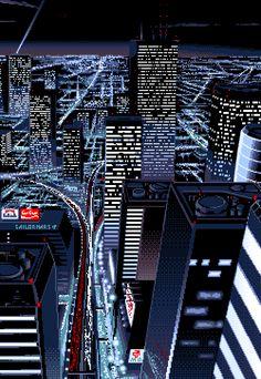 Stream in the city by Hoodlvm from desktop or your mobile device Pixel Art Gif, Pixel City, Arte 8 Bits, Pixel Art Background, Foto Gif, 8 Bit Art, Pix Art, Vaporwave Art, Trash Art