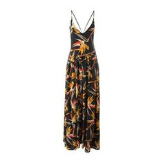 FENDI Bird of Paradise Flower Print Dress ($1,319) ❤ liked on Polyvore featuring dresses, black, silk floral dress, pleated dress, long halter dress, floral print dress and halter dress