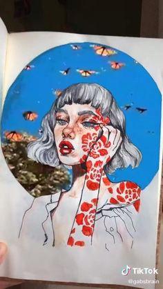 Painting Digital, Cartoon Drawings, Art Drawings, Grunge Art, Art Challenge, Art Pages, Art Sketchbook, Love Art, Art Inspo