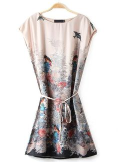 Apricot Sleeveless Birds Floral Print Dress, US$20.83 (Sale): http://rstyle.me/n/trujmr6gw  More via the Luscious Shop: www.myLusciousLife.com/shop