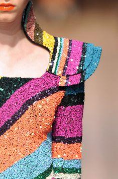 Colourful sequin dress by Manish Arora Modern Fashion, Fashion Art, Luxury Fashion, Fashion Design, Manish Arora, Cool Style, My Style, Fashion Story, Fabric Decor