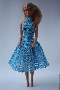 Одежда для кукол ручной работы. Ярмарка Мастеров - ручная работа. Купить Подружка. Handmade. Голубой, вязание спицами, Нитки Ирис