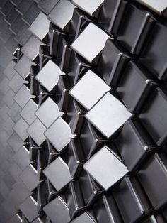 Harper Tile in cast Zinc with choice of various plated finishes by Giles Miller Studio (finish shown Ebony)