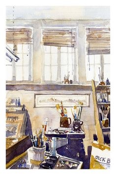 The Studio by Iain Stewart Watercolor ~ x