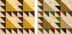Free Quilt Block Patterns: Two versions of the Lost Ships quilt block, one more scrappy than the other.