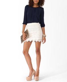 Scalloped Lace Miniskirt | FOREVER21 - 2030417228
