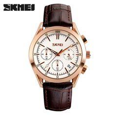 Quartz Leather Casual Watches Men SKMEI Dress