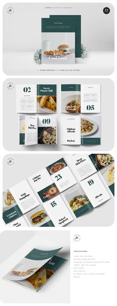 Joyce Food Recipe Cookbook Template. 24 custom page document. 2 size (A4 & US letter). Master page. Compatible with adobe indesign CS4 & higher. Grid content. Free font used. Cookbook Template, Cookbook Design, Adobe Indesign, Cookbook Recipes, Grid, A4, Templates, Content, Lettering