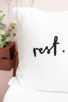 DIY Needle Felted Word Cushion http://fallfordiy.com/blog/2016/10/04/diy-needle-felted-lettered-cushion/