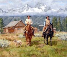 Painting of pack horse and rider by Western artist Dwayne Brech