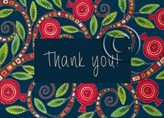 Pomegranate on blue thank you card Bohemian by Essenziale on Etsy