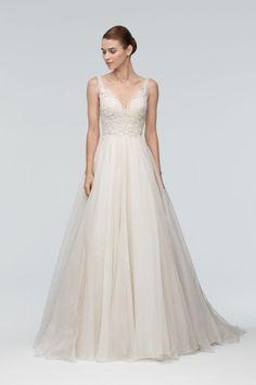 A-Line Sleeveless Wedding Dress by Watters - Organza and lace V-neck style #weddingdress