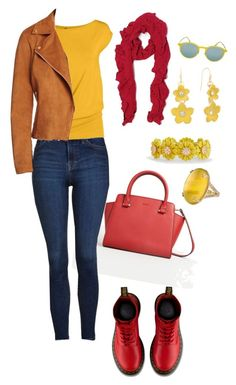 """""""Red yellow casually"""" by houseofdahlia on Polyvore featuring MANGO, Topshop, Bagatelle, Dressbarn, Dr. Martens, Misahara, Talbots, Ray-Ban and Liz Claiborne"""