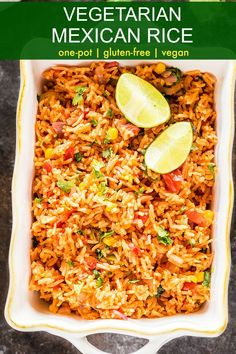 Vegetarian Mexican Rice - Easy Vegetarian Mexican Rice – serve is as a side or as main dish with tacos, burritos & more. Make this vegan & gluten free dish for your Cinco de Mayo celebration! Vegetarian Rice Recipes, Vegetarian Mexican Recipes, Rice Recipes For Dinner, Vegan Recipes, Cooking Recipes, Vegetarian Italian, Vegetarian Main Dishes, Vegan Food, Vegan Vegetarian