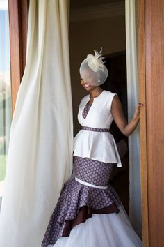 Umembeso shweshwe dresses for women Clipped onto Umembeso Traditional Attire Board in Southern Africa Category. Bride In Blue Shweshwe Umembeso Wedding Dress. African Attire, African Wear, African Women, African Dress, African Style, African Inspired Fashion, African Print Fashion, African Fashion Dresses, African Prints