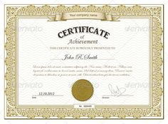 Gold certificate by ryabinina Vector illustration of gold detailed certificate. Zip file included twoEPS one with outlined text and another with non-outli Certificate Of Appreciation, Certificate Of Achievement, Award Certificates, Gift Certificate Template Word, Certificate Of Recognition Template, Boyfriend Anniversary Gifts, School Subjects, Romantic Gifts, Designs To Draw