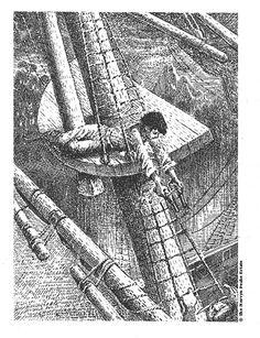 Mervyn Laurence Peake (1911 - 1968), escritor e ilustrador británico. Treasure Island.