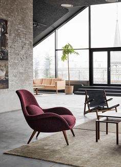 Swoon lounge chair designed by Space Copenhagen in the Fredericia showroom in Copenhagen
