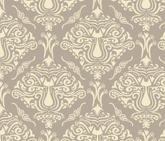 Cat Damask fabric by jillodesigns on Spoonflower - to use on cubicle walls