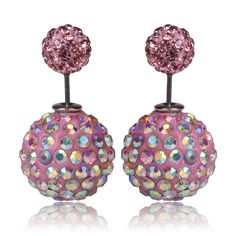 Multi Pink, Tribal Style Double Pearl Earrings; BeadyBoutique.com