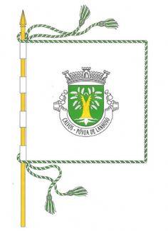 CALVOS – PÓVOA de LANHOSO - PORTUGAL - Bandeira: branca. Cordão e borlas de prata e verde. Haste e lança de ouro.  - freguesiadecalvos.pt