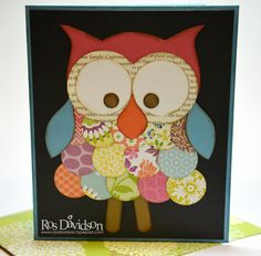 Cute punch art owl by Ros Davidson!