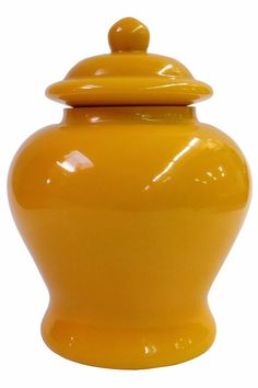 Chinese Oriental Simple Solid Yellow Peking Glass Accent Jar cs1911S