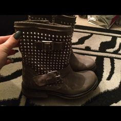 Taupe spiked boots Only worn one time these are in great condition like new Steve Madden Shoes Ankle Boots & Booties