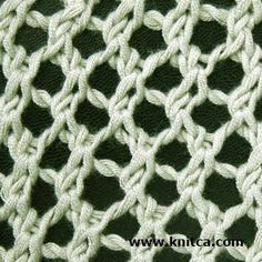 A simple 2-row mesh - Cast on an even number. Row 1 (right side): *1 yarn over, knit 2 stitches together*, repeat from * to * as necessary. Row 2 and every wrong side row: purl all stitches. Row 3 (right side): * knit 2 stitches together, 1 yarn over*, repeat