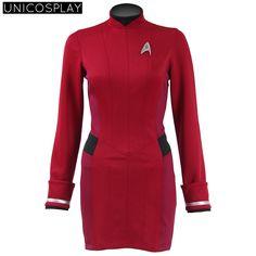 red dress star trek beyond uhura cospaly costume engineer shirt halloween dresses uniform for woman - Uhura Halloween Costume