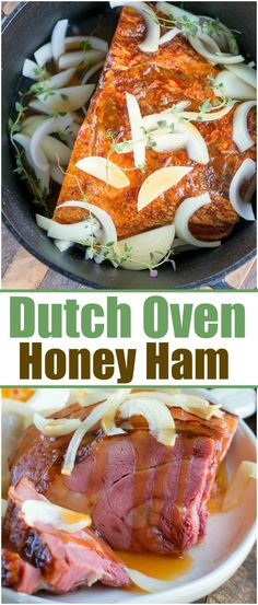 This dutch oven ham needs to go on your list of the best dutch oven recipes this year and with a honey glaze it is perfect for Christmas or Easter dinner via thetypicalmo. Oven Ham Recipes, Dutch Recipes, Cooking Recipes, Amish Recipes, Skillet Recipes, Meatloaf Recipes, Free Recipes, Dinner Recipes, Best Dutch Oven