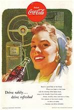 1953 Ads - Coca-Cola COKE ~ 'Woman Driver' / BUDD Rail Diesel Cars (on reverse)
