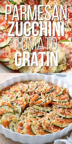 Parmesan Zucchini and Tomato Gratin - Thinly sliced zucchini and tomatoes, layered and baked with onion & garlic and topped with shredded parmesan. This is such a light and delicious side dish. Zucchini Side Dishes, Easy Zucchini Recipes, Vegetable Side Dishes, Vegetable Recipes, Vegetarian Recipes, Cheesy Zucchini Bake, Courgette Recipe Healthy, Shredded Zuchinni Recipes, Healthy Recipes