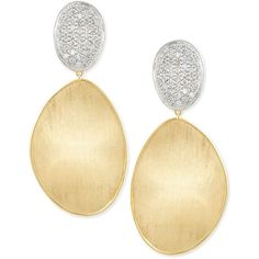 Marco Bicego Large Diamond Lunaria 18k Gold Double-Drop Earrings (186.255 CZK) ❤ liked on Polyvore featuring jewelry, earrings, diamond post earrings, 18k gold earrings, post earrings, 18k diamond earrings and gold post earrings