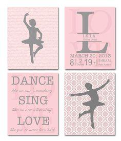 Nursery art, french nursery, monogram baby name, baby birth stats, ballerina nursery, inspirational quote Set of 4, 8x10