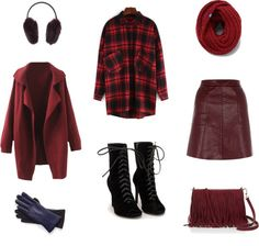 burgunday plaid outfit