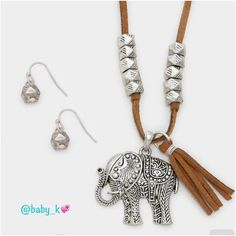 "✨Elephant Tassel Pendant Long Necklace Set NWT - Silver tribal elephant and suede tassel pendant with faux brown suede necklace and matching silver tribal dangle earrings. 30"" + 3"" Long. Pendant and tassel 1.5"" long. Earrings size 0.75"" drop Boutique Jewelry Necklaces"