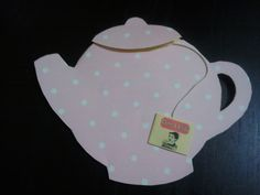 My finished product of my teapot invites. You open the lid and pull on the string and out comes a tea bag shaped invite with all the party details. Teapot, Bridal Shower, Invitations, Shapes, Party, Kitchen, Crafts, House, Bags