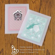 Christmas cards by Natalie Lapakko with vellum and Candy Cane Lane and Presents and Pinecones DSPs from Stampin' Up!