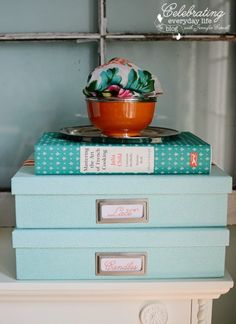 Martha Stewart Home Office organizing boxes in Shagreen Blue and Large Silver Bookplate tags with Julia Child Mastering the Art of French Cooking cookbook and orange Caspari bowl