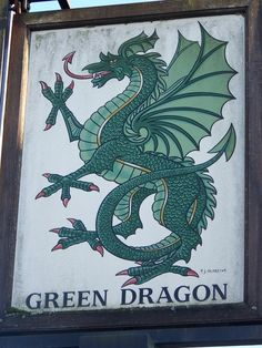 Green Dragon pictorial sign. Northlew, Devon, UK.