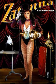 Zatanna magician poster by Garrie Gastonny. And a few more links: Museum workers hosting an exhibition of naked people surprised th. Comic Book Characters, Comic Character, Comic Books Art, Comic Art, Batman, The Magicians, Personnage Dc Comics, Zatanna Dc Comics, Superhero Pop Art