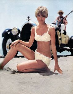 the swinging sixties: Cheryl Teigs in lace two piece