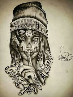 Time for action Skull Girl Tattoo, Skull Tattoo Design, Tattoo Design Drawings, Tattoo Designs, Chicano Style Tattoo, Chicano Tattoos, Body Art Tattoos, Omerta Tattoo, Dibujos Sugar Skull