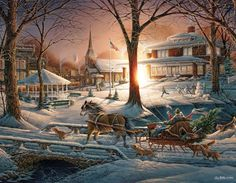 Terry Redlin Racing Home 1000 Piece Puzzle: Dad is headed home on this wintery day with his horse drawn carriage full of presents. Artwork by Terry Redlin. Christmas Scenes, Christmas Past, Vintage Christmas, Illustration Noel, Illustrations, Winter Szenen, Terry Redlin, Thomas Kinkade, Christmas Paintings
