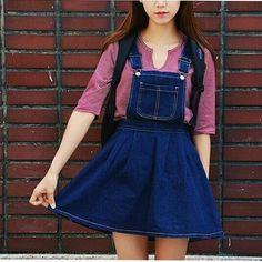 Женщины лето колледж милый стиль трапециевидный синий деним подтяжк юбки деним вкладыш девочка в юбка комбинезон купить на AliExpress